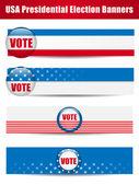 Rösta banners. uppsättning av fyra med bakgrund — Stockvektor