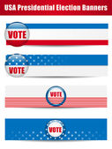 Vote Banners. Set of four with Background — ストックベクタ