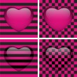 Set of Four Glossy Emo Hearts. Pink and Black Chess and Stripes - Stock Vector