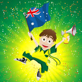 Australia Sport Fan with Flag and Horn — Stockvektor