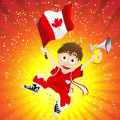 Canada Sport Fan with Flag and Horn — Stockvektor