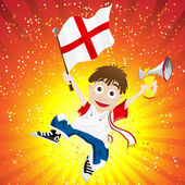 England Sport Fan with Flag and Horn — Stockvektor