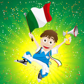 Italy Sport Fan with Flag and Horn — Stock Vector