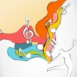 Dancer Silhouette with Colorful Waves and Music Notes — Stock vektor
