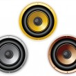 Round Isolated Sound Speaker. Set of 3 colors — Stockvektor