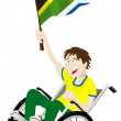 South Africa Sport Fan Supporter on Wheelchair with Flag — Stock Vector