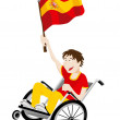 Spain Sport Fan Supporter on Wheelchair with Flag - Vettoriali Stock
