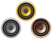 Round Isolated Sound Speaker. Set of 3 colors — Stock Vector