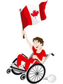Canada Sport Fan Supporter on Wheelchair with Flag — Vector de stock