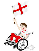 England Sport Fan Supporter on Wheelchair with Flag — Stock Vector
