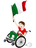 Italy Sport Fan Supporter on Wheelchair with Flag — Stock Vector