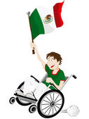 Mexico Sport Fan Supporter on Wheelchair with Flag — Stockvektor