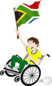 South Africa Sport Fan Supporter on Wheelchair with Flag — Vector de stock