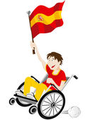 Spain Sport Fan Supporter on Wheelchair with Flag — Vector de stock