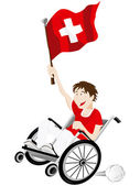 Switzerland Sport Fan Supporter on Wheelchair with Flag — Vector de stock