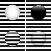 Set of Four Glass Circle Black and White Stripes — Stock Vector