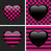 Set of Four Glossy Emo Hearts. Pink and Black Chess and Stripes — Stock Vector