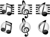 Set of Music Notes Glass Button — Vettoriale Stock
