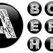 Stock Vector: Alphabet Chalk Letters in shiny Black Buttons