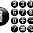 Stock Vector: Alphabet Chalk Numbers in shiny Black Buttons