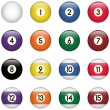 Colored Pool Balls Set from Zero to Fifteen — Stock Vector #9570849