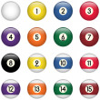 Colored Pool Balls Set from Zero to Fifteen - Stock Vector