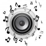 botón del altavoz vidrio con notas musicales — Vector de stock