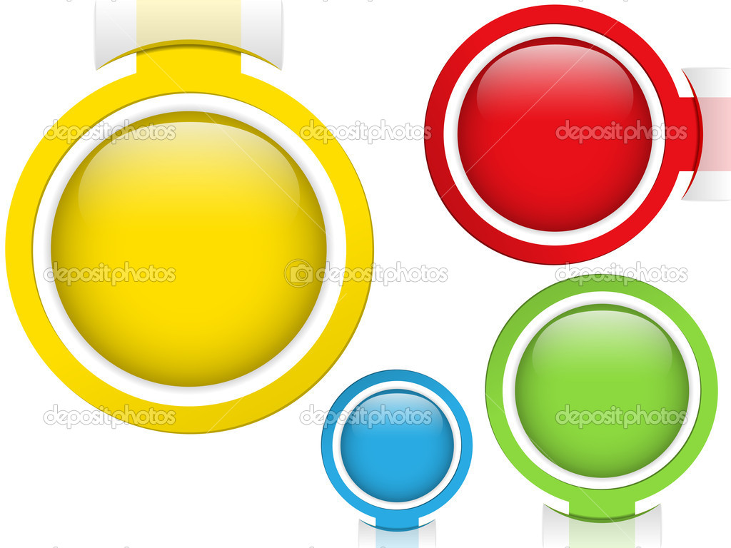 Vector - Set of Four Glass Circle Buttons — Stock Vector #9978557