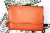 Оранжевый кожаный бумажник — Стоковое фото