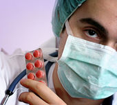 Portrait of a young doctor with stethoscope. — Stock Photo