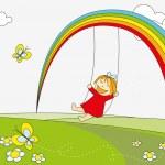 Rainbow little girl — Stock Vector