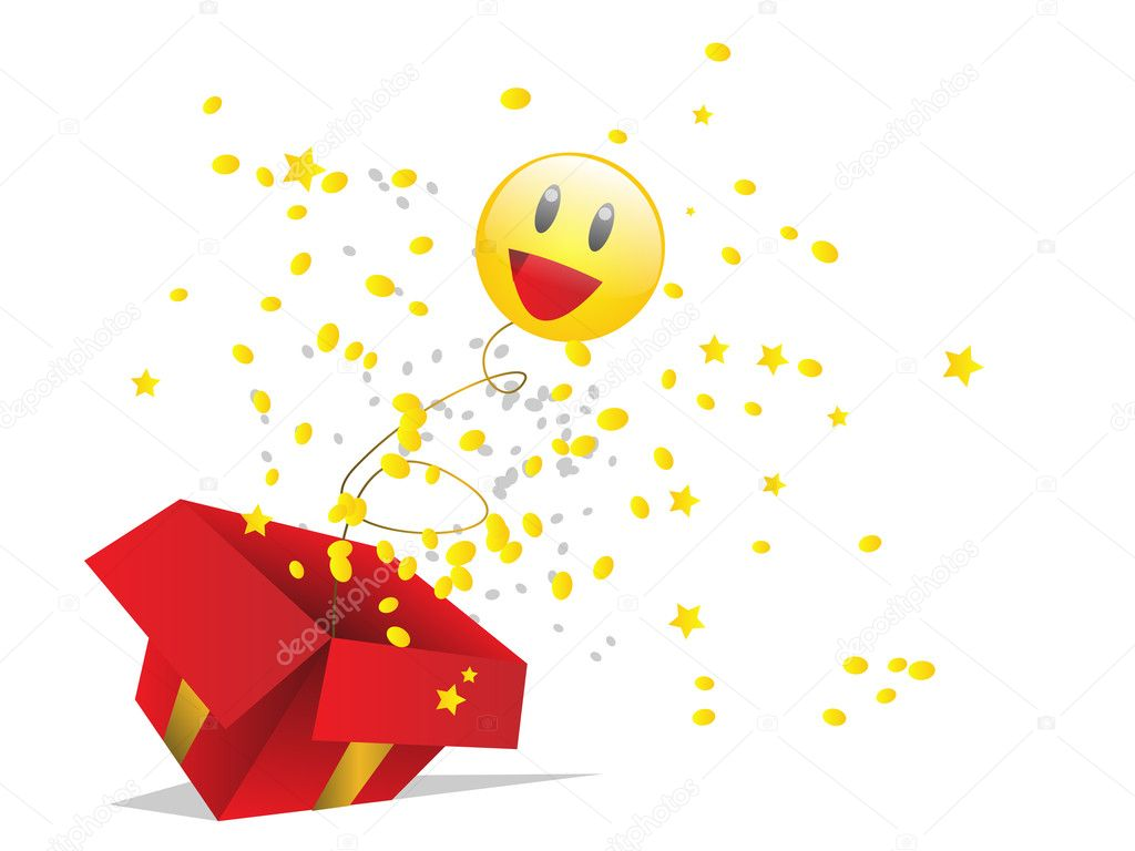 Red gift box with happiness — Stock Vector #8620142