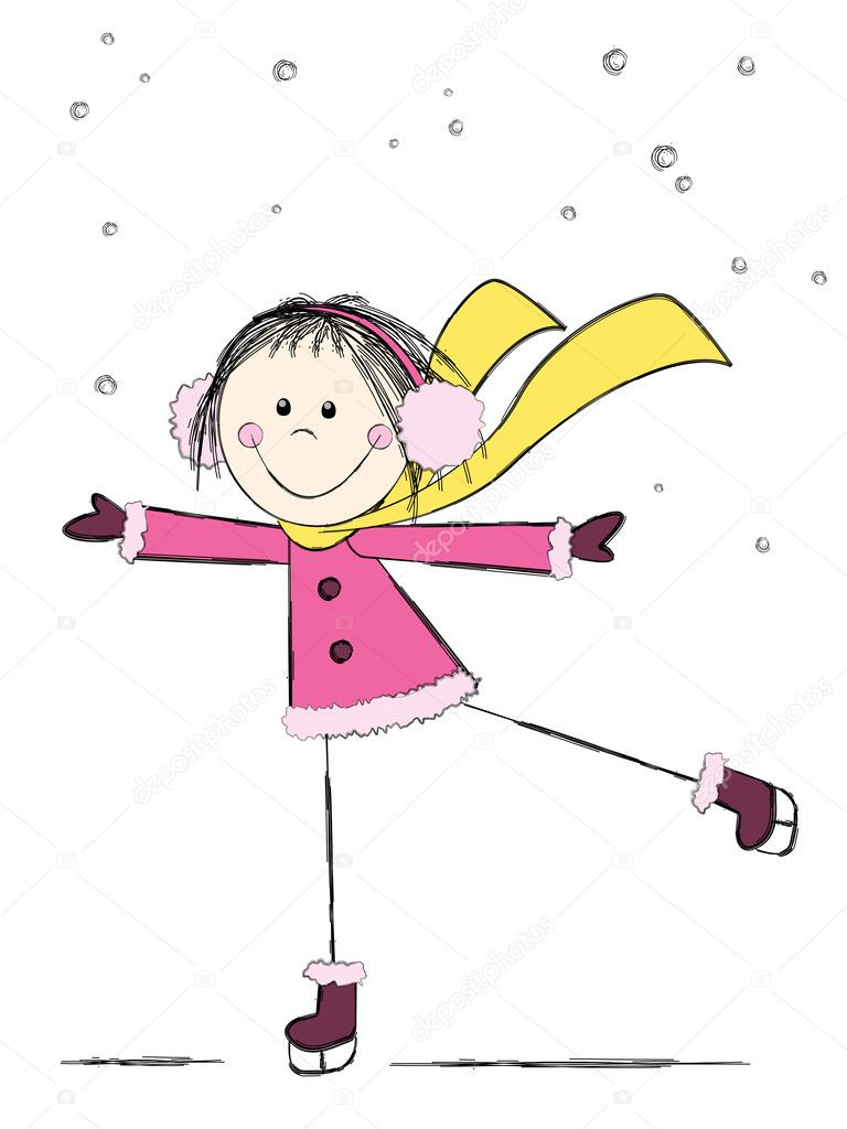 Cute winter girl ice skating — Stock Vector #8620903