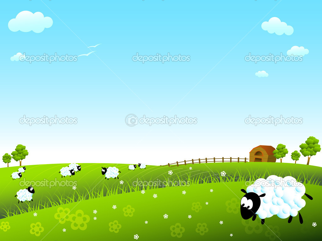 Sunny meadow with cute sheep — Stock Vector #9015837