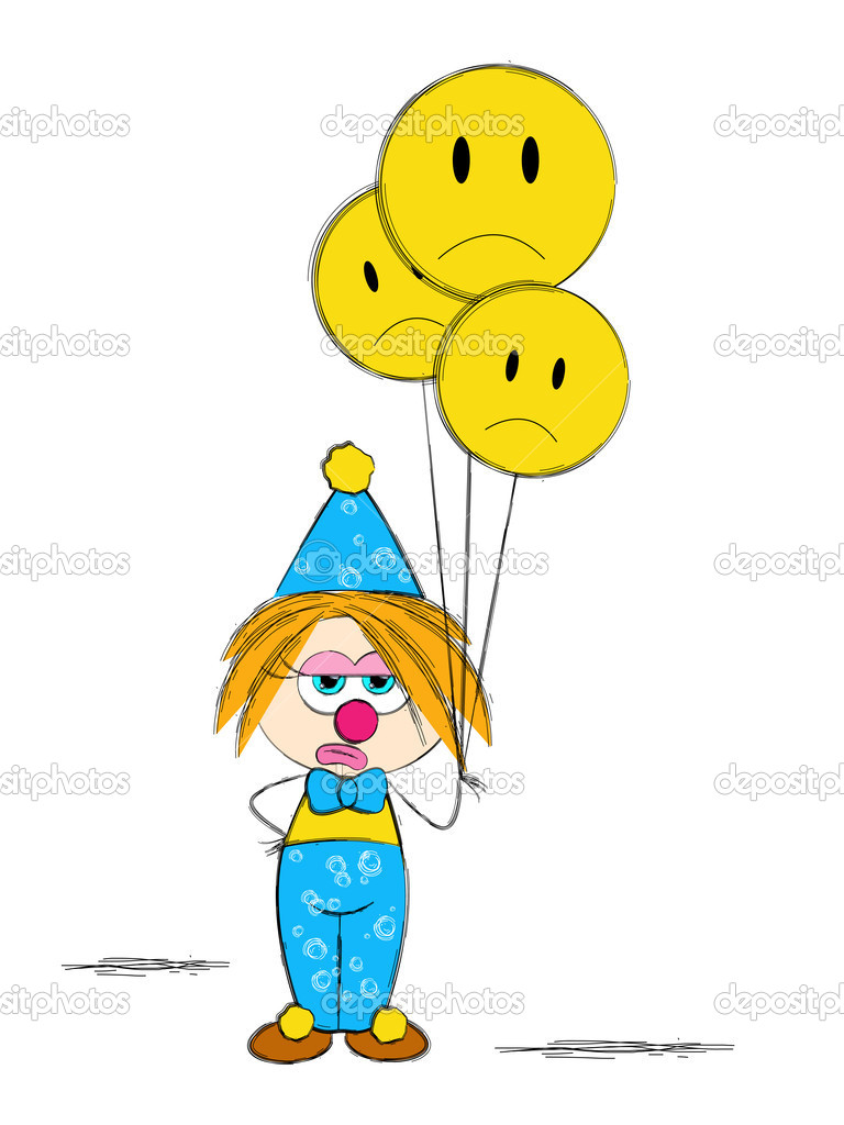Sad clown with yellow baloon — Imagen vectorial #9936122
