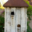White Birdhouse with Rusted Roof — Stock Photo #10492665