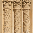 Three Ornate Circular Pillars Made of Stucco - Stock Photo