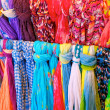 Brightly Colored Scarves on Rack — Stock Photo