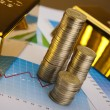 Gold bars and coins — Stock Photo #10266042