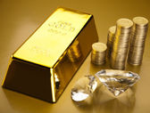 Monete e lingotti d'oro, il concetto di finanza — Foto Stock