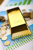 Coins and gold bars,Finance Concept — Stock Photo