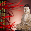 Buddha statue and bamboo — Stockfoto