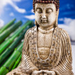 Buddha and blue sky background — Stok fotoğraf