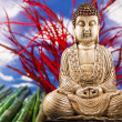 Buddha and blue sky background - Stock Photo