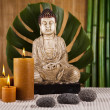 Still life with buddha statue and bamboo — Stock Photo