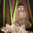 Buddha statue and bamboo - Stock Photo