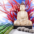 Buddha and blue sky background — Stock fotografie
