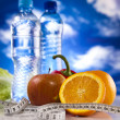 Fitness Food and blue sky — Stock Photo #8834031