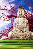 натюрморт с статуя будды и бамбука — Стоковое фото