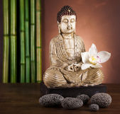 Buddha statue and bamboo — Stock Photo